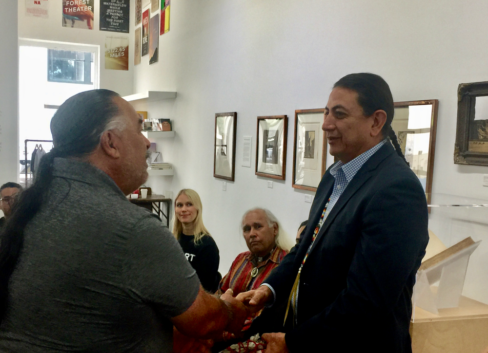 Freddie Romero, Cultural Resources Director of the Santa Ynez Band of Chumash Indians, greeting Chairman Archambault