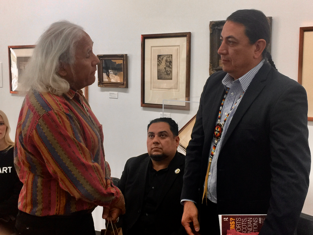 Fernandeño Tataviam Band of Mission Indians Elders Council Chairman, Alan Salazar presents Chairman Archambault a traditional gift.