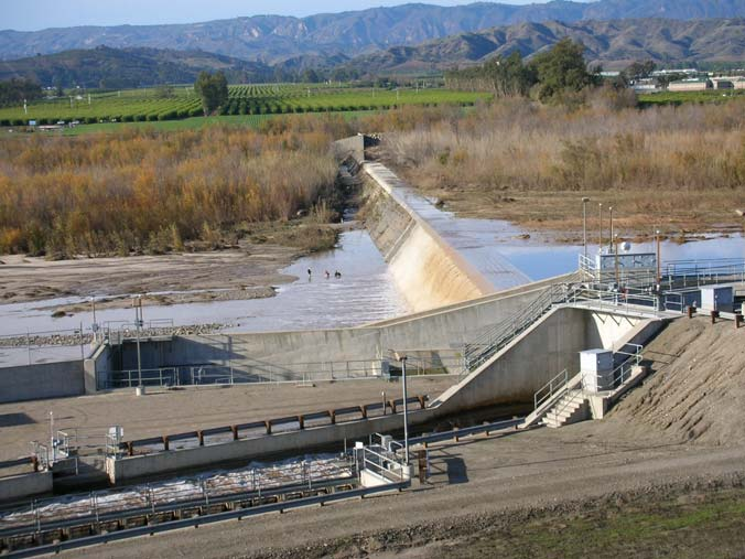 United's 1,200 foot wide and 25 foot tall Vern Freeman Diversion Dam blocking steelhead migration on the Santa Clara River 10.5 miles upstream from the ocean.