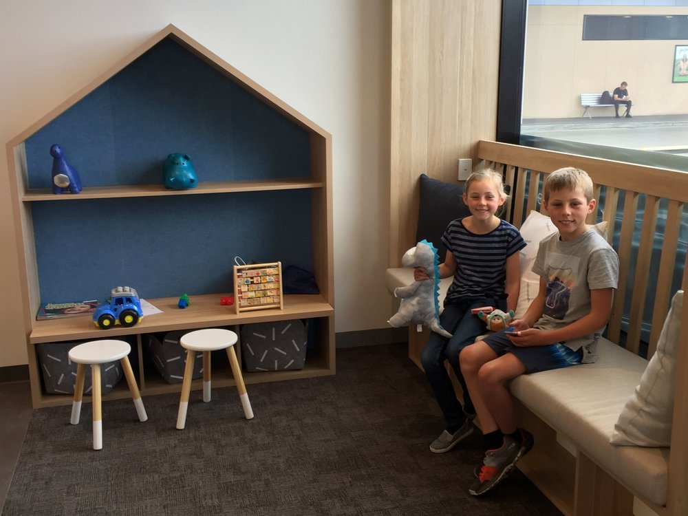 Family-friendly dental practice and lounge area