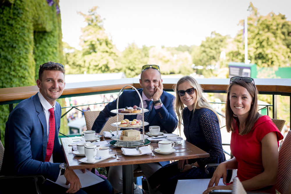 Afternoon Tea at Wimbledon!  Giles Scott, Rio Gold Medallist; Nick Dempsey, Photographer, Rio and London Silver Medallist; Sophie Weguelin, British Sailing Team Member; Tennis, Scones, Friends