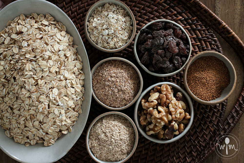 Basic muesli ingredients: Grains, fruits, nuts. The original birchermüesli recipe contained more fruit than grain, but that's what's great about making your own - you can decide what to put in and how much of each.