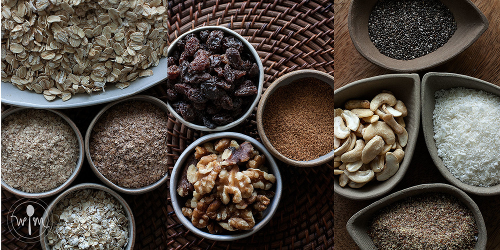 The ingredient groups: (Left photo) Base: Old-fashionsed rolled oats, wheat germ, wheat bran, oat bran, (center photo) Flavors: raisins, walnuts, coconut sugar, (right photo) Optional flavors and nutrient boosters: cashew nuts, dessicated coconut, chia seeds, flax seed meal