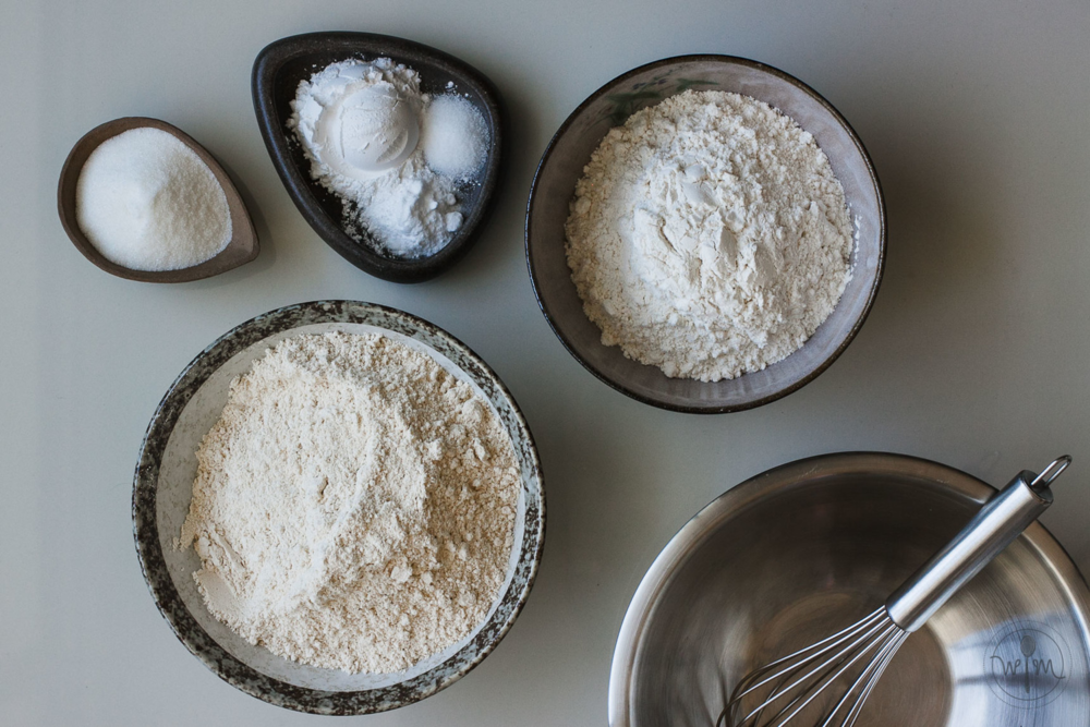 Pancake mix ingredients: (clockwise from right) All-purpose flour, whole wheat flour, caster sugar, baking powder, baking soda, salt - that's really all there is to it, and frankly, that's all there should be!