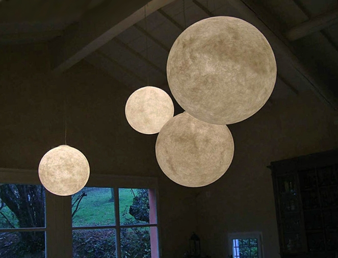 Luna Moon Pendant light by Ocilunum for In-Es, Nebulum (resin and fibre composite), with polycarbonate. Via  Within4Walls