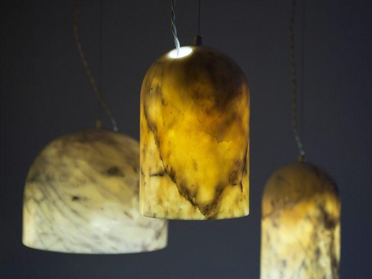 Quarry thin walled marble lamps,  Benjamin Hubert