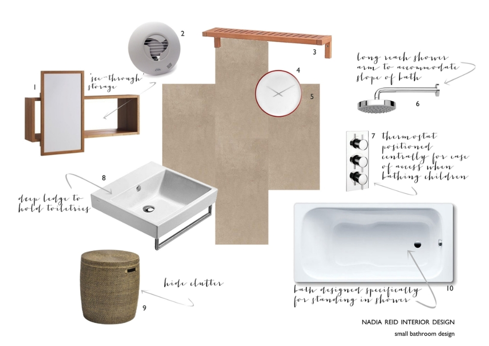1. Ikea Molger storage mirror  2. Icon Airflow 30 circular extractor fan 3. Ikea Molger shelf  4.  Mr White Numbers Clock, Karlsson 5.  Micron 36B Beige porcelain tiles, Imola 6.  Techno 120 300mm fixed shower head, Bathstore 7.  Triple control vertical thermostatic shower valve, Bathstore 8.  Premium 50 single basin, Catalano 9.  Mala Rattan drum storage table, Artisanti 10. Dynaset single ended steel bath, Kaldewai