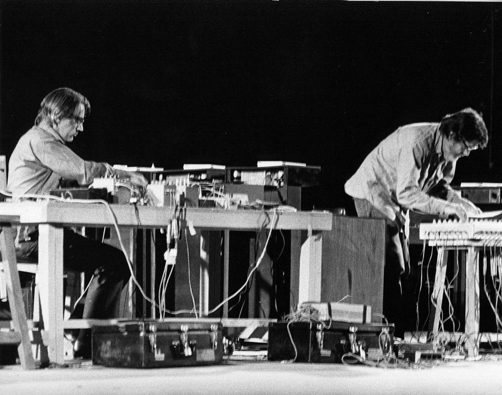 John Cage (right) with David Tudor at Shiraz Arts Festival