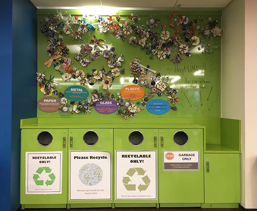 The overall final installation includes information about what materials belong in the recycled bin and what do not, providing information for on-campus best practices, but also messages about at-home recycling as well.