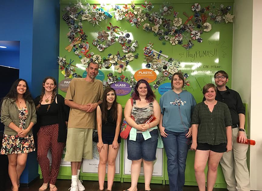 Here is the happy group of informed students, artists, and activists - lt to rt: Bridgette Pina and Amber Bingham, Sustainability Club members; Daniel Reed, Nicole Nielsen, Hannah Alcocer, Noa Paden, Amber Ries Manning, and Michael McCarthy, 3D Design students.