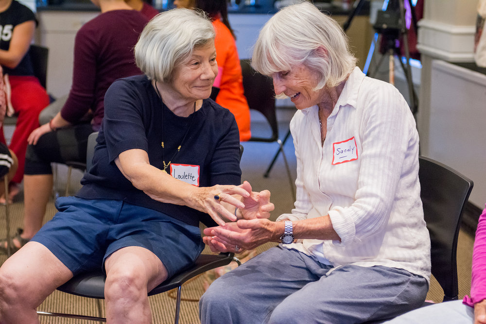 "Seniors participate in a ""Dances for a variable population"" workshop with Naomi Goldberg Haas, photo by Sally Cohn"