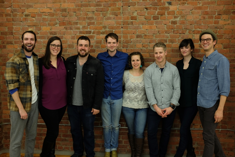 """The Third Rail"" Reading Cast and Crew at Gibney Dance Center  L-R: Jacob Perkins (Author), Shana Ferguson (Stage Mgmt.), Jack O'Brien (Sound), Kieran Mulcare (TOM), Lynne Rosenberg (DENISE), Mark Schneider (Director), Celeste Arias (ANNA), Devin Norik (JOE)"