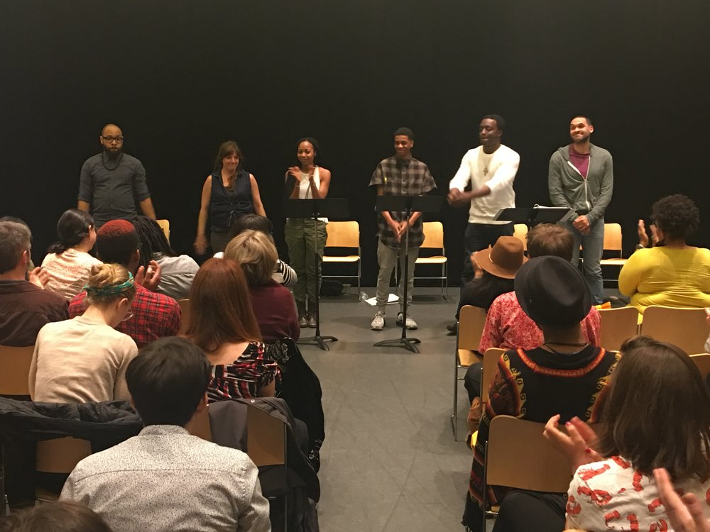 From L-R: Ugo Chukwu (TERRANCE); Hanna Cheek (GRETA); Sheria Irving (SAMIRA); Brett Gray (KALIL); Andy Lucien (BANKHEAD); Eden Marryshow (Coolie)