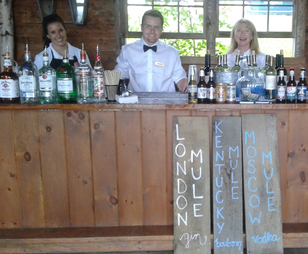 The PR Bartending crew ready for action at Longlook Farm in Sanbornton, New Hampshire