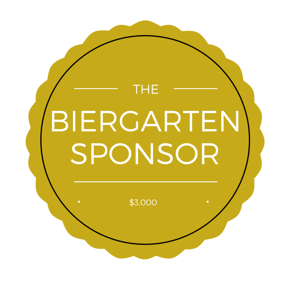 "$3,000 - one available - Biergarten will be named and promoted as  ""The Makers Fest Biergarten sponsored by _____________"" including signage.  - logo on: T-shirts, website, select marketing materials, and mugs - 4 T-shirts"