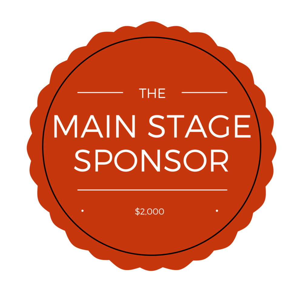 "$2,000 - ONE Available     - Large banner on Main stage  with business name, stage promoted as ""The Makers Fest Main Stage brought to you by ___________"".     - logo on: T-shirts, website, select marketing materials    - 4 T-shirts"