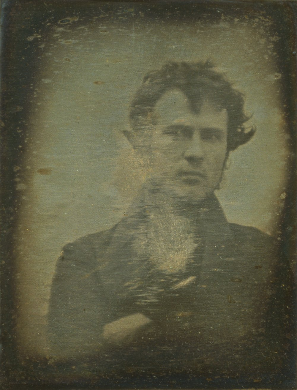 The first photographed self-portrait by Robert Cornelius in 1839