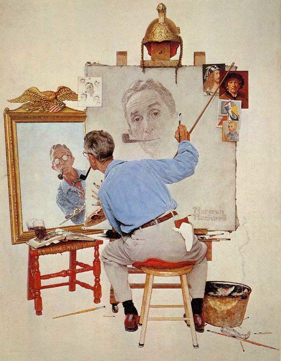 NORMAN ROCKWELL - TRIPLE SELF-PORTRAIT, 1960.