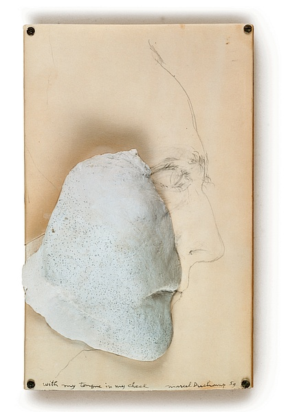 MARCEL DUCHAMP - WITH MY TONGUE IN MY CHEEK, 1959.