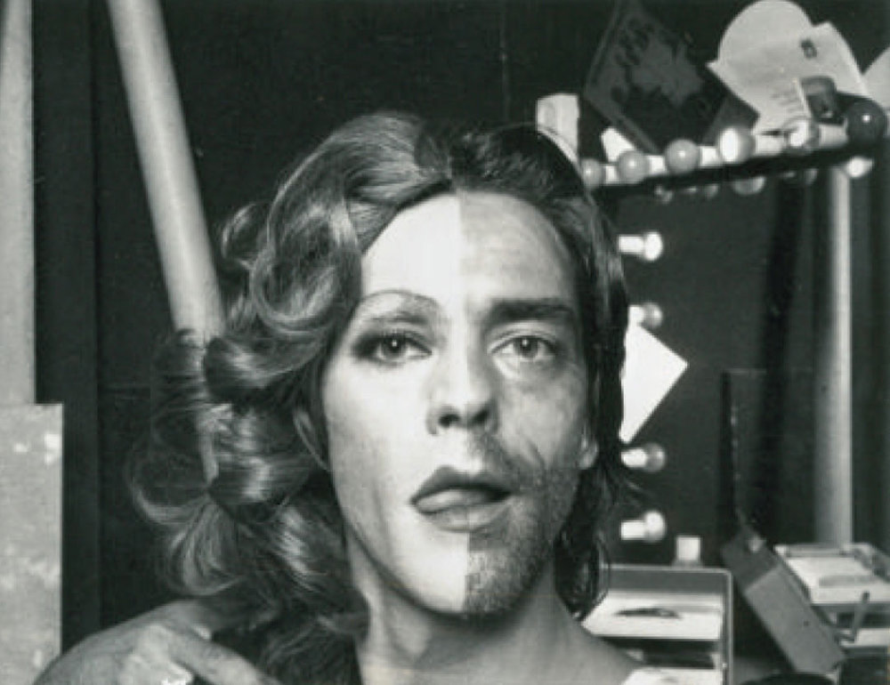 ULAY, 's'He', 1972. - Before this performance artist found fame working with Marina Abramović, he staged a number of androgynous self-portraits, in which he split his face in two, devoting each half to either gender. Some of these works were credited to PA-ULA-Y, a contraction of his name and that of his muse, Paula Françoise-Piso.