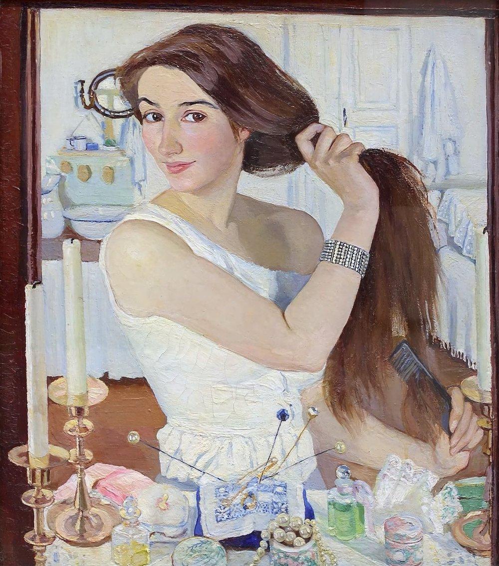 "ZINAIDA SEREBRYAKOVA - ""AT THE DRESSING TABLE"" (SELF-PORTRAIT), 1909."