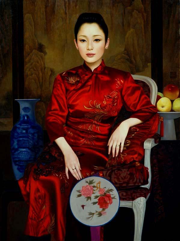 XUE YANQUN  -  'The Actress',   80.5x61cm, Oil On Canvas