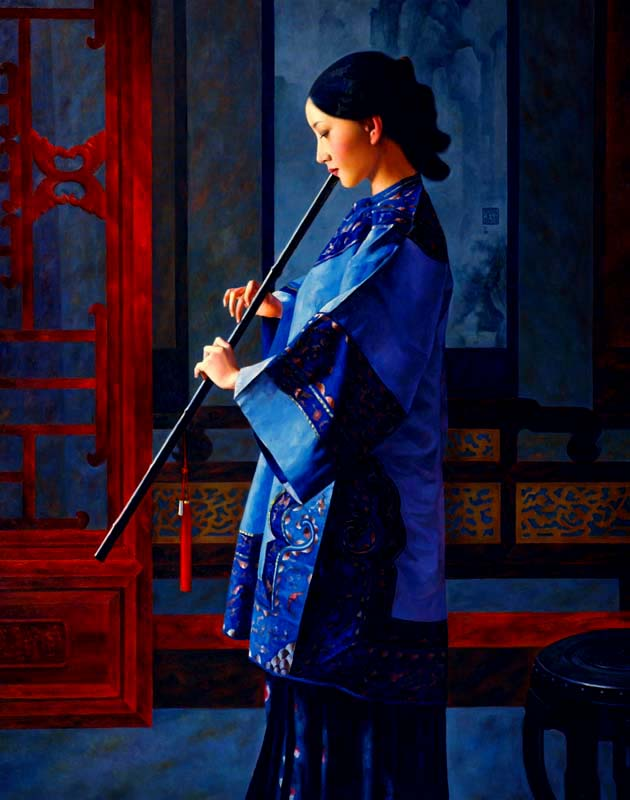 XUE YANQUN  = ' Sound of Bamboo' ,  100 x 80cm, Oil on Canvas