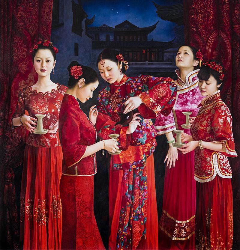 XUE YANQUN  -  'Five Brides' ,  145 x 138cm, Oil on Canvas