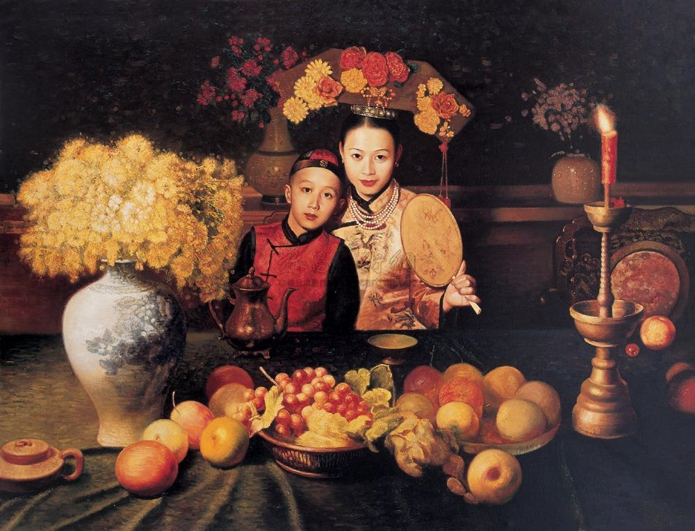 JIANG GUOFANG, 'Mother And Son',   oil on canvas, 2005