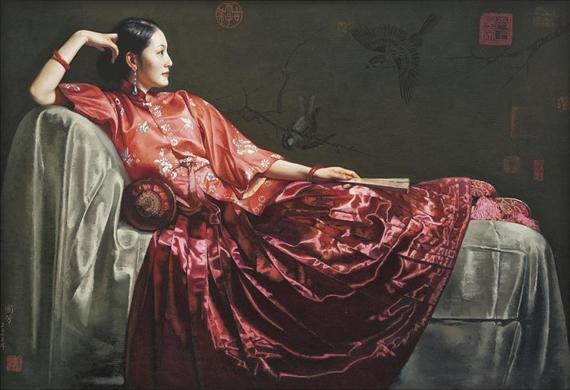JIANG GUOFANG, 'Sunset glow',   oil on canvas, 2012
