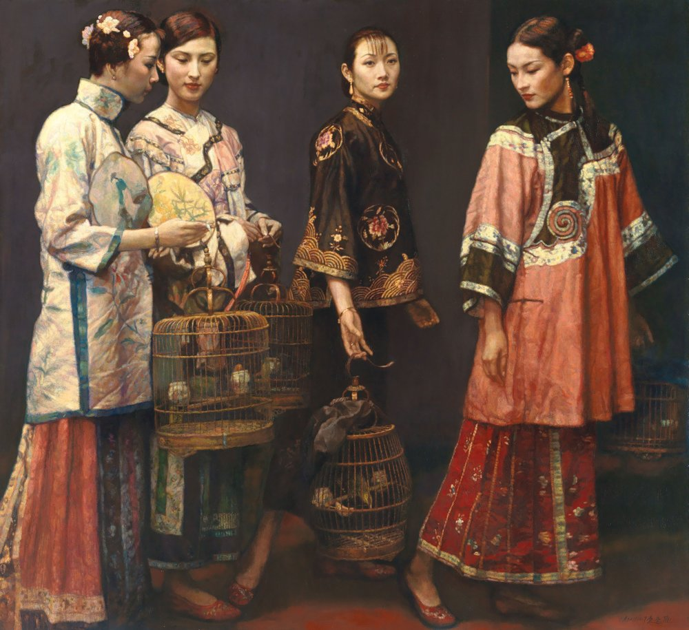 CHEN YIFEI, 'Beauties on Promenade,'   oil on canvas, 1997
