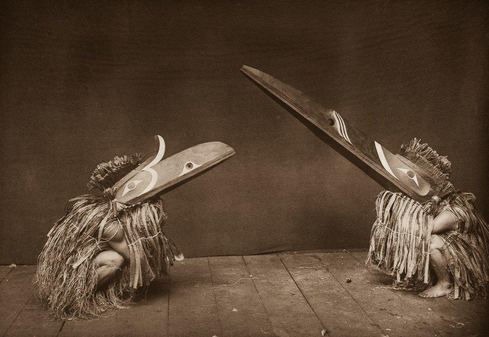 Nakoaktok dancers wear Hamatsa masks in a ritual,   1914. ©EDWARD S. CURTIS/SMITHSONIAN INSTITUTE