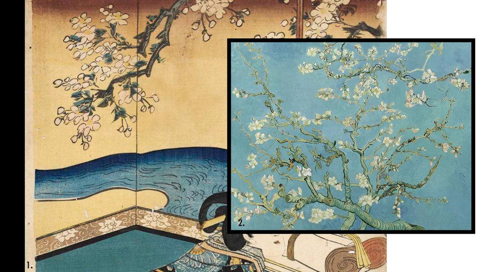 1. Details from  Utagawa Kunisada , triptych series 2.  Vincent Van Gogh , 'Almond blossom', 1890. ©Van Gogh Museum.