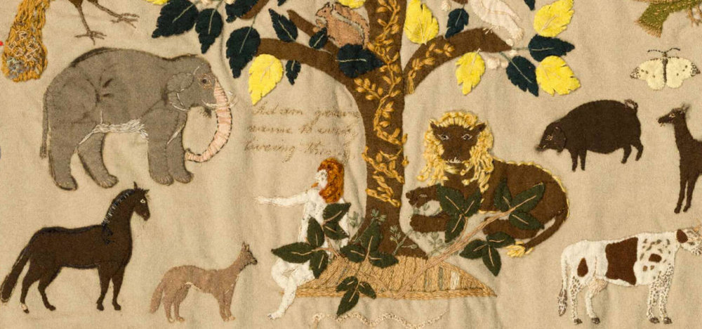 Details from the  the biblical scene of Adam naming the animals in the Garden of Eden  from the patchwork hanging (detail), Ann West 1820, England. Museum no. T.23-2007. ©Victoria and Albert Museum, London