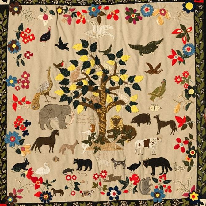 Adam naming the animals in the Garden of Eden,  Patchwork hanging (detail), Ann West, 1820, England. Museum no. T.23-2007. © Victoria and Albert Museum, London