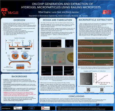 14. M. Dagher, L. Que, and D. Juncker. On-chip generation and extraction of hydrogel microparticles using railing microposts. MicroTAS 2014, San Antonio, Texas, USA. October 26-30, 2014.