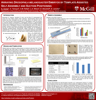 2. K. Turner, A. Tamayol, A.M. Rafiqi, L.A. Nilson, E. Abouheif, and D. Juncker, Arraying Drosophila Melanogaster Embryos By Template-Assisted Self-Assembly and Suction Positioning, MMB 2013, The 7th International Conference on Microbiotechnologies in Medicine and Biology, Marina Del Rey, California. April 10-12, 2013