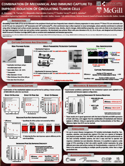 26. A. Meunier, K. Turner, J. Alejandro Hernández-Castro, Teodor Veres and D. Juncker, Combination of mechanical and immuno capture to improve isolation of circulating tumor cells, Canadian Cancer Research Conference Montreal, Canada. Nov 8-10, 2015