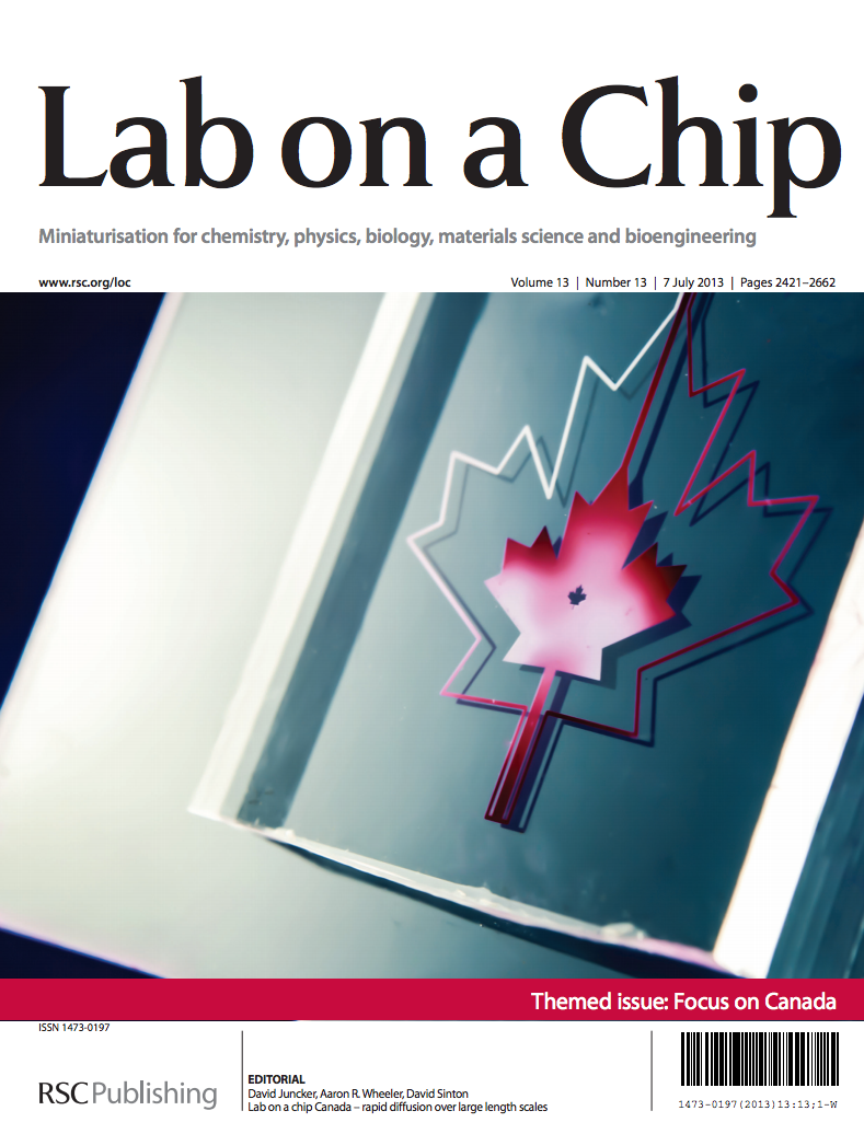 37.  D. Juncker, A. R. Wheeler, and D. Sinton,   Editorial: Lab on a Chip Canada – Rapid Diffusion Over Large Length Scales  , Lab on a Chip, 13, 2438 – 2440 (2013)   PDF