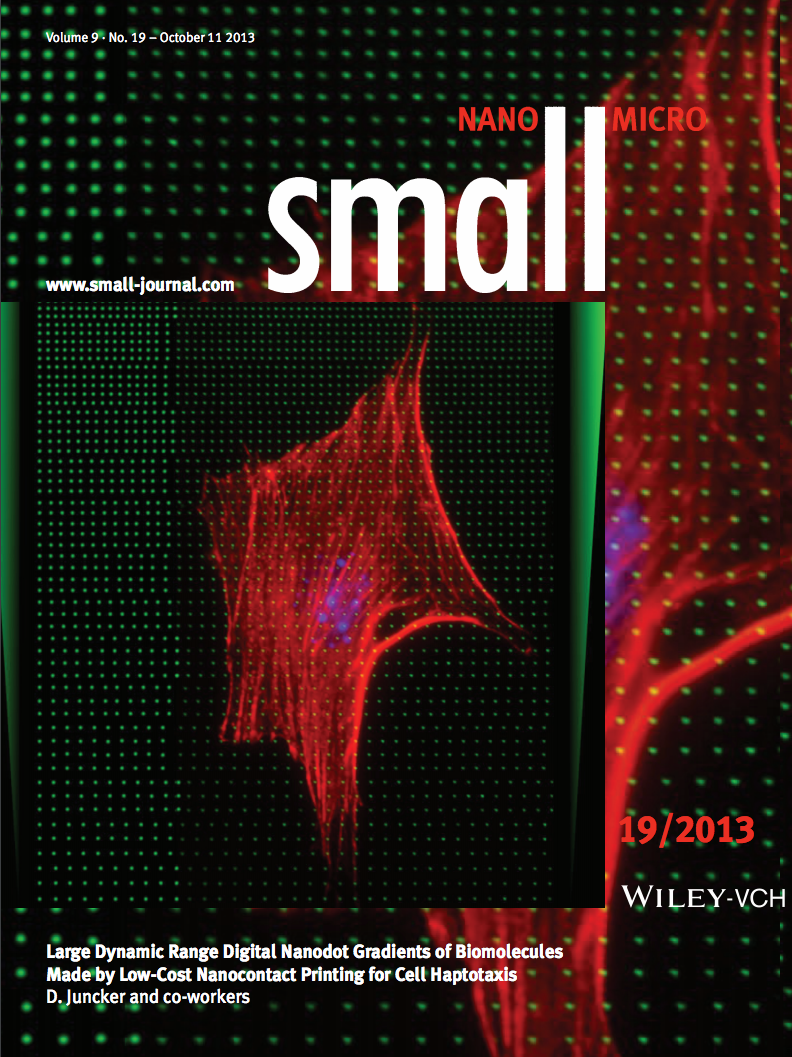 36.  S. G. Ricoult, M. Pla-Roca, R. Safavieh, G. M. Lopez-Ayon, P. Grütter, T. E. Kennedy, and D. Juncker,  Large Dynamic Range Digital Nanodot Gradients of Biomolecules Made by Low-Cost Nanocontact Printing for Cell Haptotaxis  ,Small,9, 3308 – 3313 (2013).  PDF  |  SI    Highlighted in Lab on a Chip, 2013,13, 3148    Highlighted on the cover of Small, 19/2013, 9: 3186.