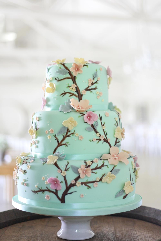Mint Green Floral Wedding Cake