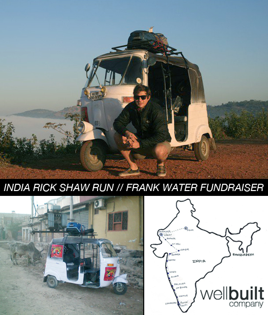 Rick Shaw charity run for FRANK water in India by Wellbuilt Company's Mitch Kidd