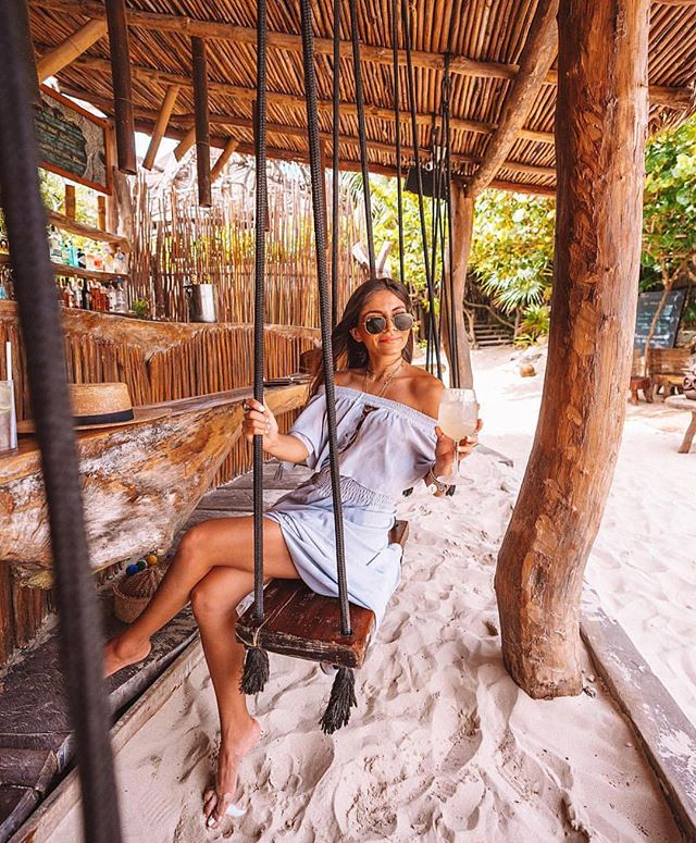 Cheers to beach hair, tanned skin & sandy toes 🍹 @jenkvieira wearing #ppla Farlow Woven Dress. . . . . . . . . . . #landscapephotography #tulum #beachhair #beachbabe #babe #beach #mexico #tulumbeach #fashionblogger #blogger #lifestyle #travel