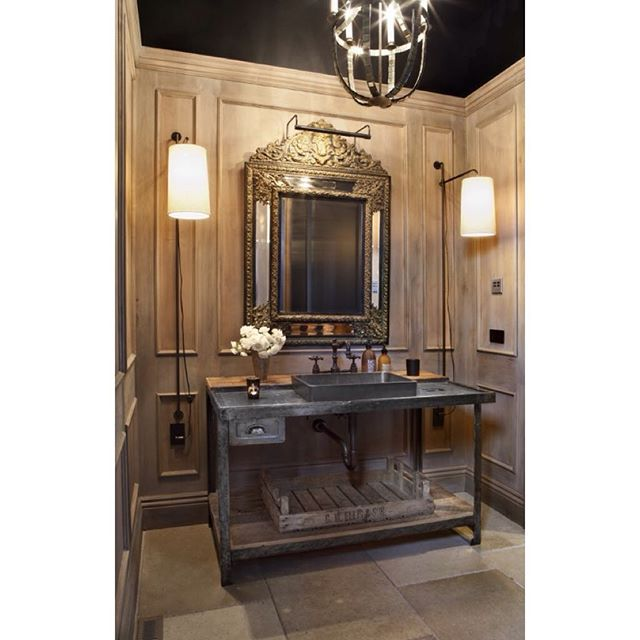 Home we finished a few years ago! #powderbathroom #paneling #colorado #denverdesign #interiordesign #residentialdesign