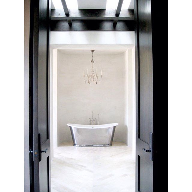 Elegant master bath #masterbathroom #blackdoors @wtrwrks