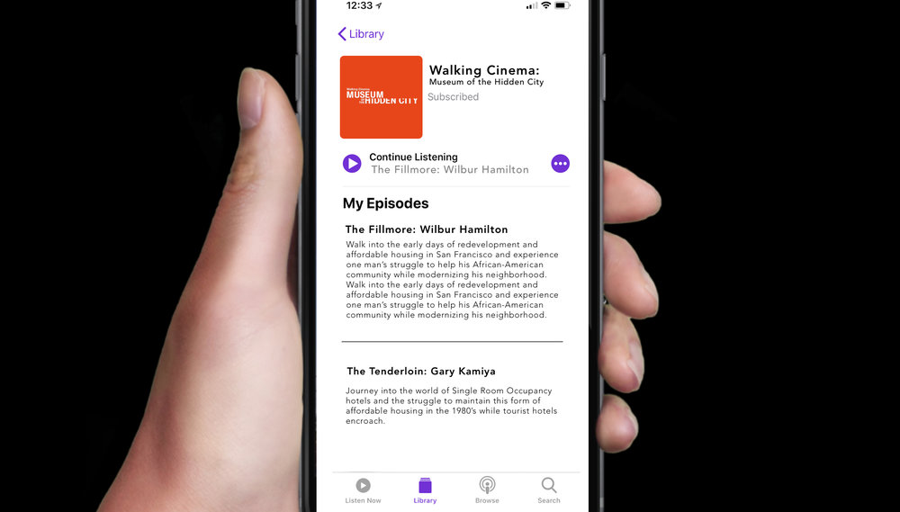 Podcasts will give remote audiences an experience of the stories while not merely repeating the walking content, rather, expanding on it.  -