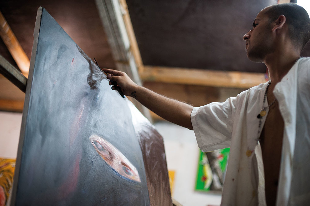 Cuban Artist Painting in Havana