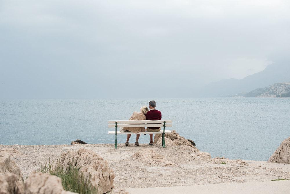 Couple resting in Makarska, Croatia