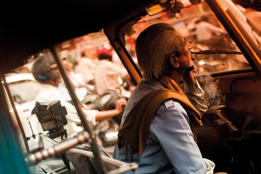 Indian Taxi Driver Smoking