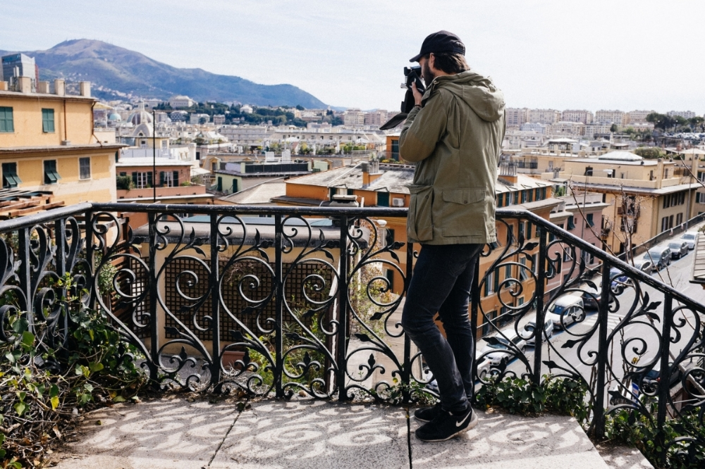 Me, shooting my awesome Polaroid SX70 in Genoa, Italy 2015